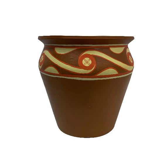 Ghiveci din ceramica de Arges realizat manual, Argcoms, Pictura tip Gumelnita (G1), Ø25 cm, Natur