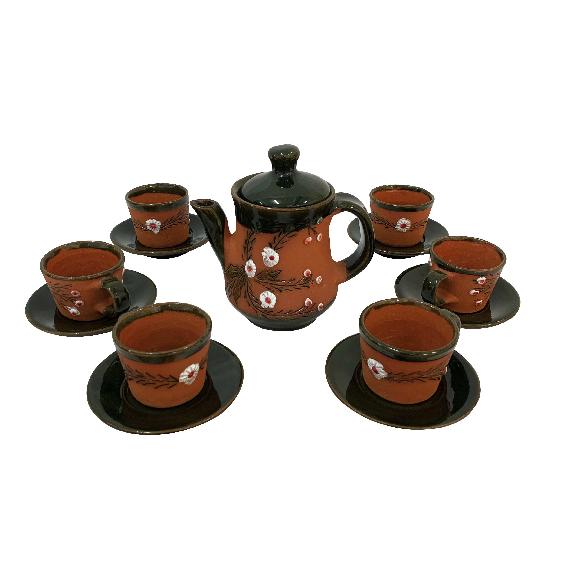 Serviciu cu 6 cești și farfurii din ceramica de Arges realizat manual, Argcoms, Tuica, Pictura cu flori de maces