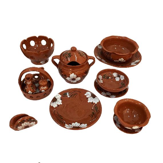 Serviciu de masa pentru 12 persoane din ceramica de Arges realizat manual, Argcoms, 60 bucati/set, Pictura florala