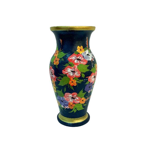 Vaza din ceramica de Arges realizata manual, Argcoms, H30, Silueta clasica (1), 2 inele, Pictura florala