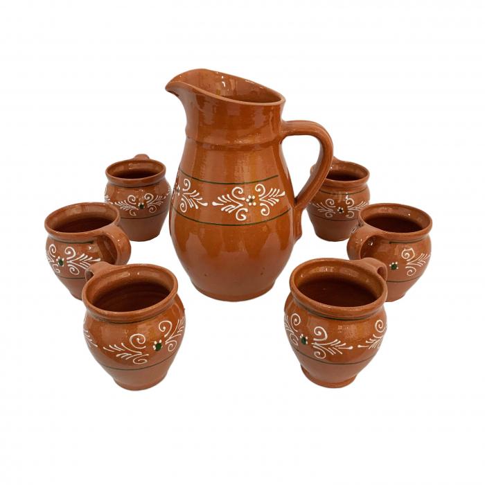 carafa-cu-6-cesti-din-ceramica-de-arges-realizate-manual-argcoms-vin-apa-pictura-traditionala-6035 0