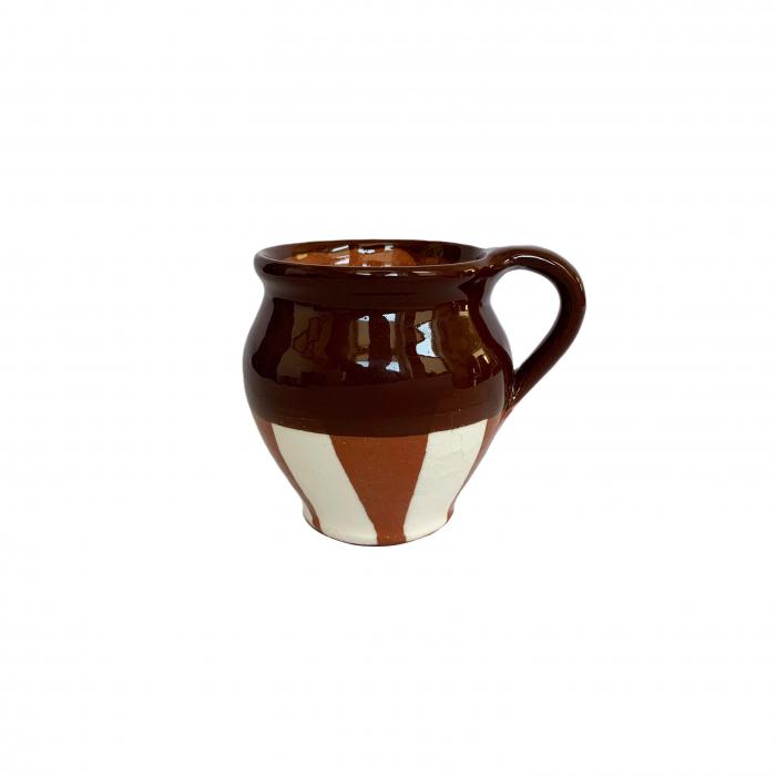 ceasca-din-ceramica-de-arges-realizata-manual-argcoms-vin-pictura-traditionala-fond-maro-6031-6034 0