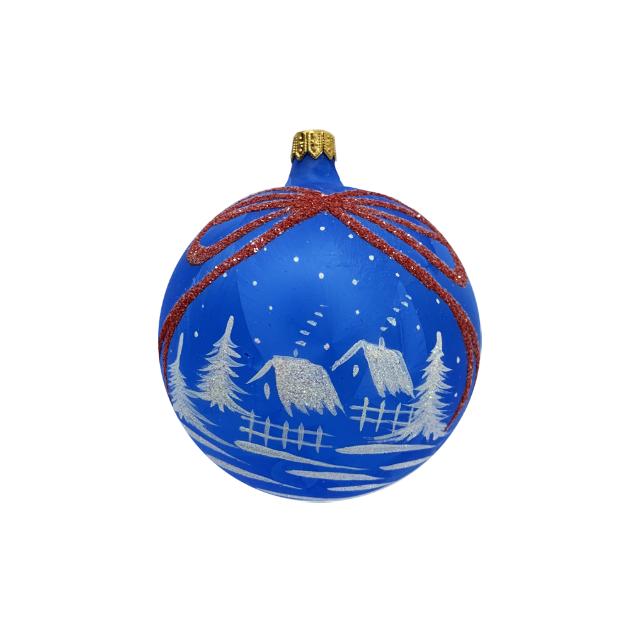glob-din-sticla-suflata-si-pictata-manual-argcoms-fabrica-lui-mos-craciun-personalizabil-flori-de-gheata-panglica-multicolor-fond-albastru-100-mm-sferic 1