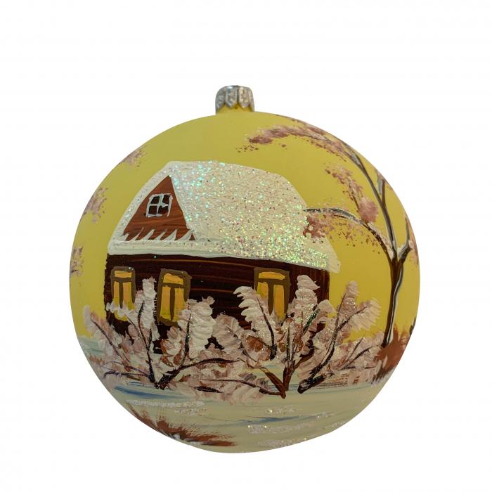 glob-din-sticla-suflata-si-pictata-manual-argcoms-fabrica-lui-mos-craciun-cabana-2-multicolor-fond-galben-120-mm-sferic-6581-6583 1