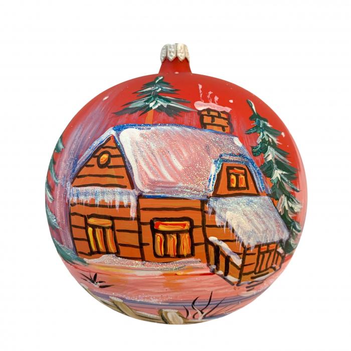 glob-din-sticla-suflata-si-pictata-manual-argcoms-fabrica-lui-mos-craciun-casa-spiridusului-multicolor-fond-rosu-120-mm-sferic-6573-6574 0