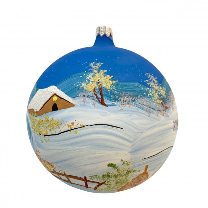 glob-din-sticla-suflata-si-pictata-manual-argcoms-fabrica-lui-mos-craciun-iarna-pe-ulita-multicolor-fond-albastru-120-mm-sferic-6565-6566 0
