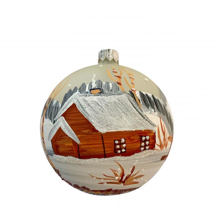 glob-din-sticla-suflata-si-pictata-manual-argcoms-fabrica-lui-mos-craciun-peisaj-de-iarna-multicolor-fond-gri-80-mm-sferic-6656-6657 0