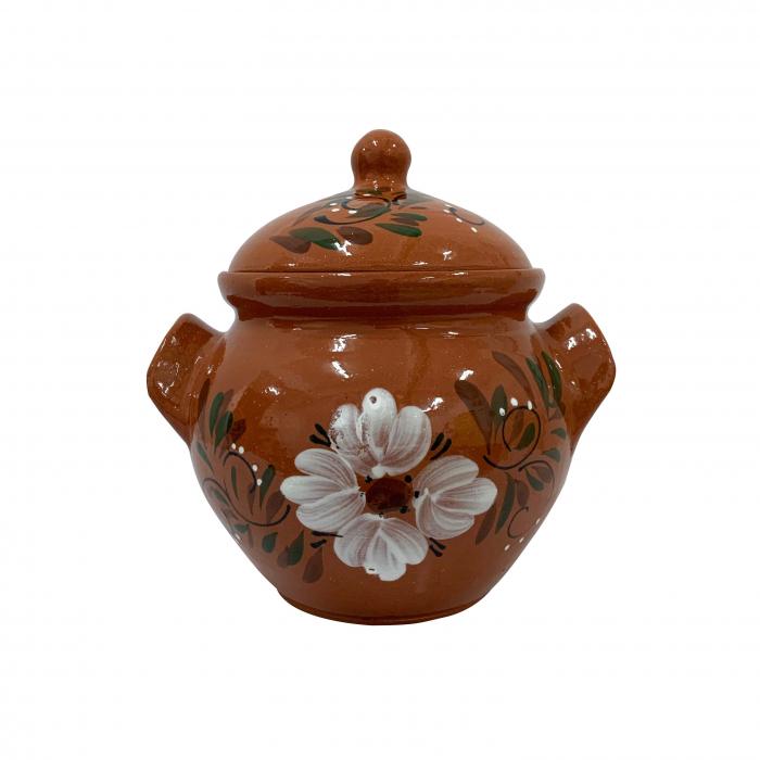 oala-din-ceramica-de-arges-realizata-manual-argcoms-sarmale-cu-capac-pictura-florala-mica-5856-5858 0