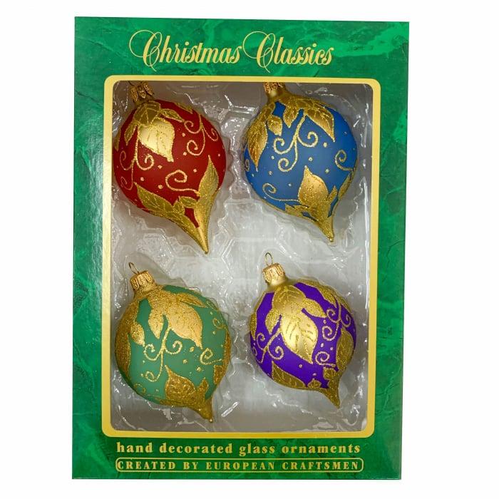 set-4-globuri-clasice-din-sticla-suflate-si-pictate-manual-argcoms-fabrica-lui-mos-craciun-ornament-galben-auriu-multicolore-70-mm-ovale-6753 0