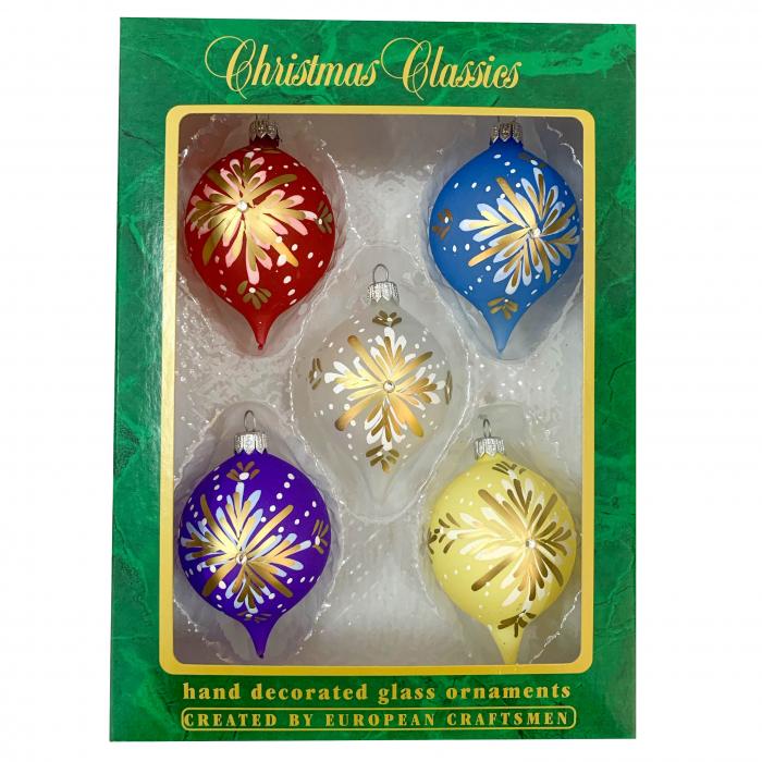 set-5-globuri-clasice-din-sticla-suflate-si-pictate-manual-argcoms-fabrica-lui-mos-craciun-model-1-multicolore-60-mm-ovale-6745 0