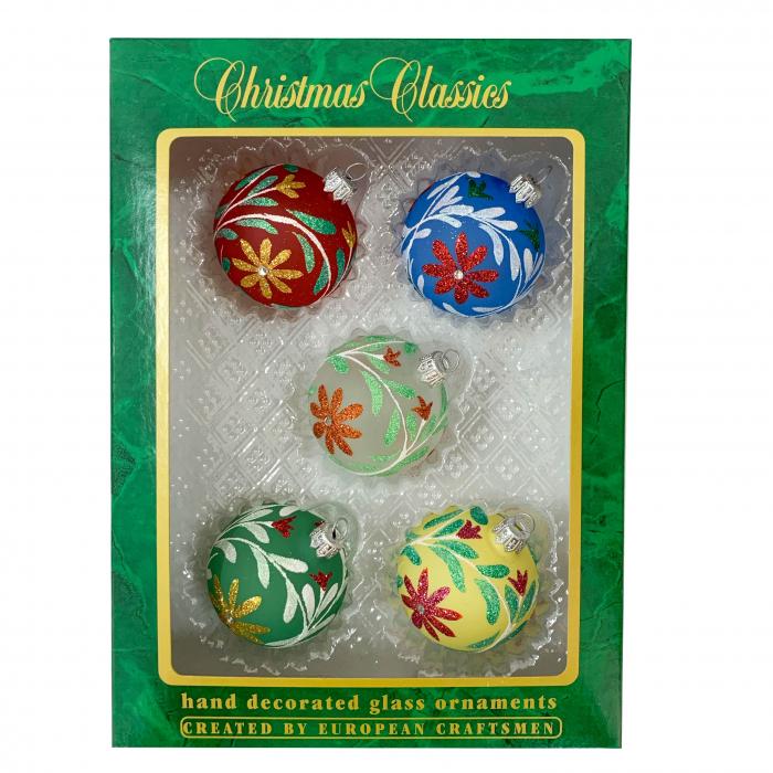 set-5-globuri-clasice-din-sticla-suflate-si-pictate-manual-argcoms-fabrica-lui-mos-craciun-model-1-multicolore-60-mm-sferice-6741 0