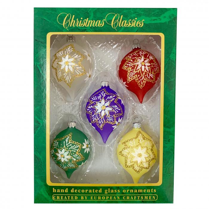 set-5-globuri-clasice-din-sticla-suflate-si-pictate-manual-argcoms-fabrica-lui-mos-craciun-model-2-multicolore-60-mm-ovale-6747 0