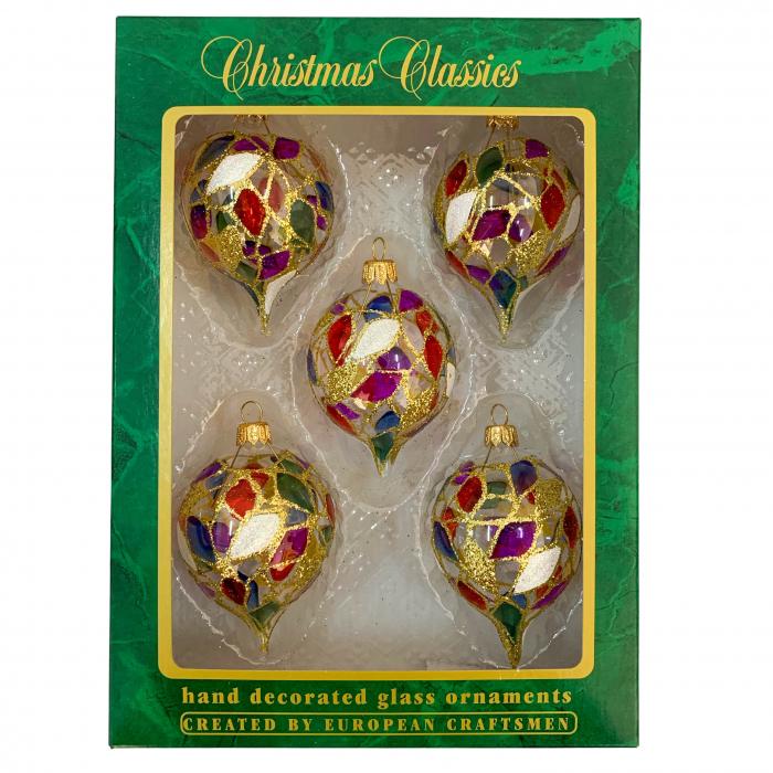 set-5-globuri-clasice-din-sticla-suflate-si-pictate-manual-argcoms-fabrica-lui-mos-craciun-vitralii-multicolore-60-mm-ovale-6781 0
