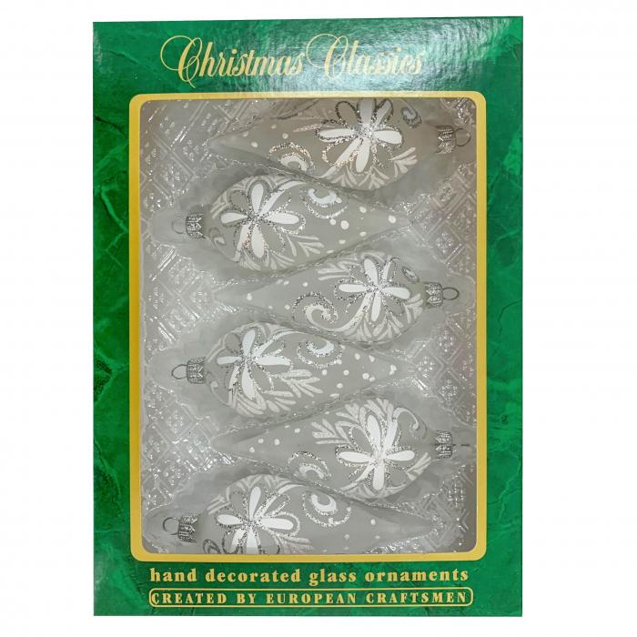 set-6-globuri-clasice-din-sticla-suflate-si-pictate-manual-argcoms-fabrica-lui-mos-craciun-flori-de-gheata-cu-pictura-albe-45-mm-conice-6765 0