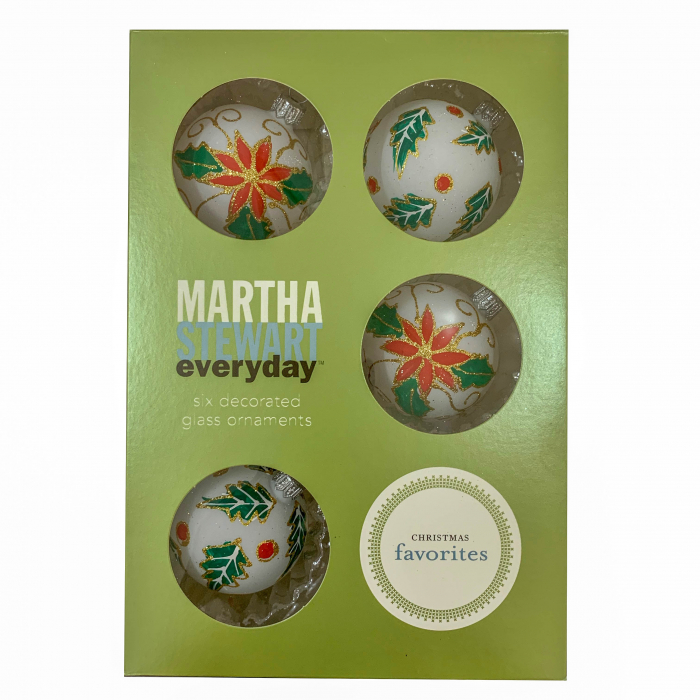 set-6-globuri-clasice-din-sticla-suflate-si-pictate-manual-argcoms-fabrica-lui-mos-craciun-martha-stewart-model-1-multicolore-60-mm-sferice-6737 0