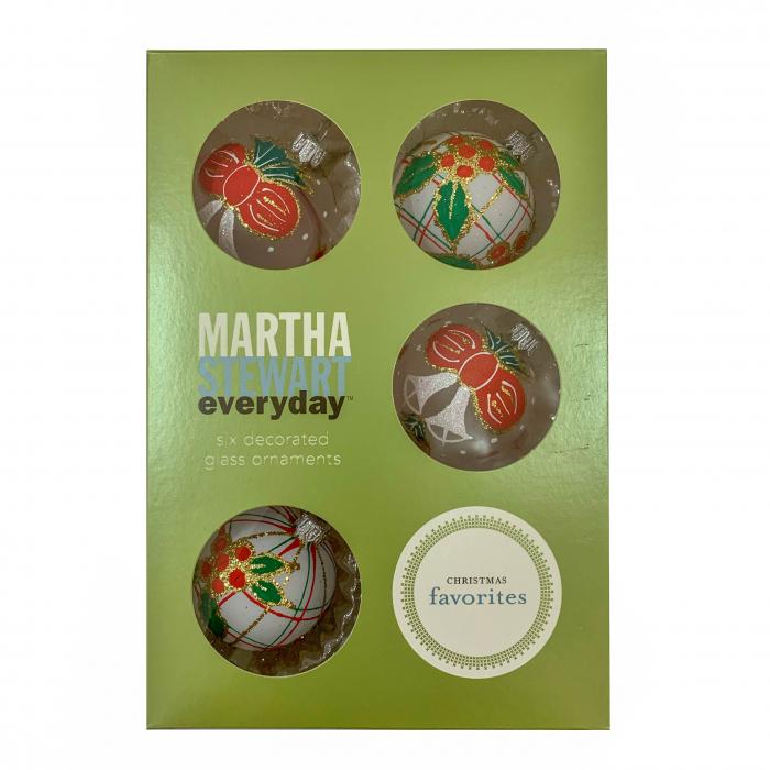 set-6-globuri-clasice-din-sticla-suflate-si-pictate-manual-argcoms-fabrica-lui-mos-craciun-martha-stewart-model-2-multicolore-60-mm-sferice-6738 0