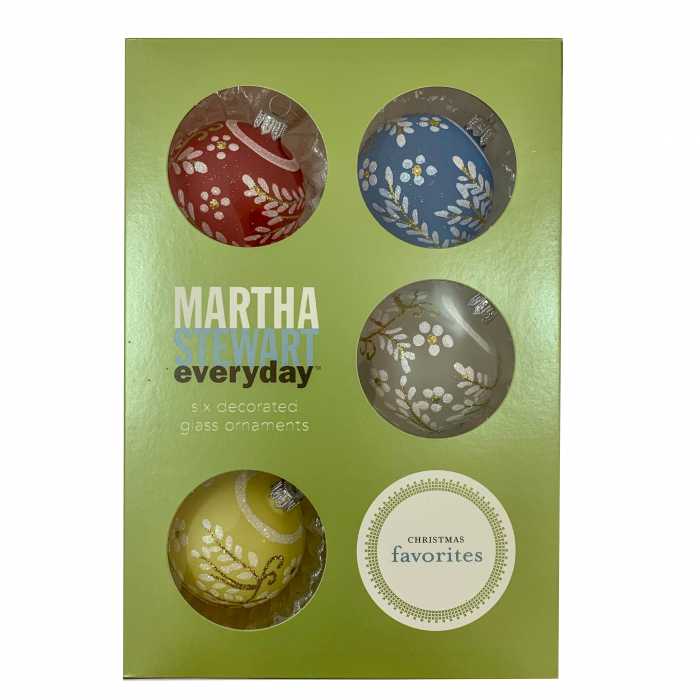 set-6-globuri-clasice-din-sticla-suflate-si-pictate-manual-argcoms-fabrica-lui-mos-craciun-martha-stewart-model-3-multicolore-60-mm-sferice-6739 0