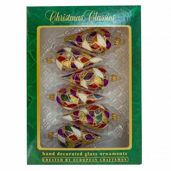 set-6-globuri-clasice-din-sticla-suflate-si-pictate-manual-argcoms-fabrica-lui-mos-craciun-vitralii-multicolore-45-mm-conice-6782 0