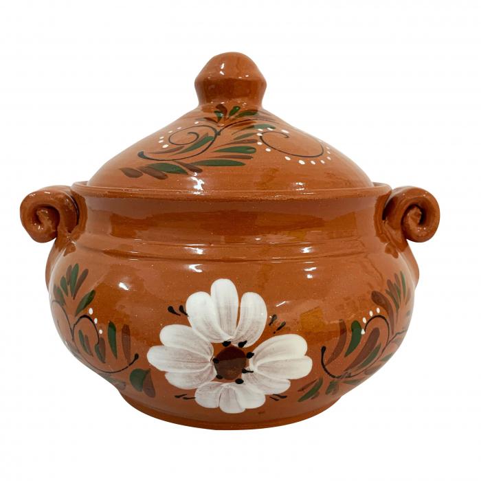 vas-din-ceramica-de-arges-realizat-manual-argcoms-produse-la-grătar-cu-capac-pictura-florala-mare-5865-5866 0