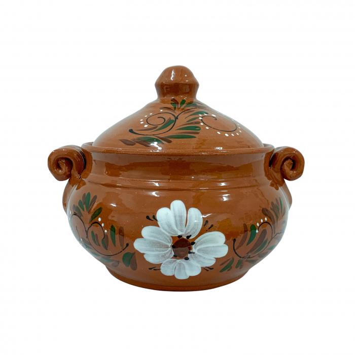 vas-din-ceramica-de-arges-realizat-manual-argcoms-produse-la-grătar-cu-capac-pictura-florala-mediu-6544-6546 0