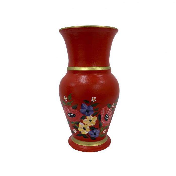 vaza-din-ceramica-de-arges-realizata-manual-argcoms-h25-silueta-clasica-1-2-inele-pictura-florala-5772-5777 0