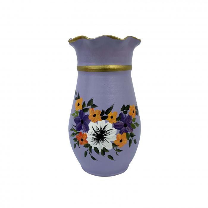 vaza-din-ceramica-de-arges-realizata-manual-argcoms-h25-silueta-cu-onduleuri-1-1-inel-pictura-florala-5778-5783 0