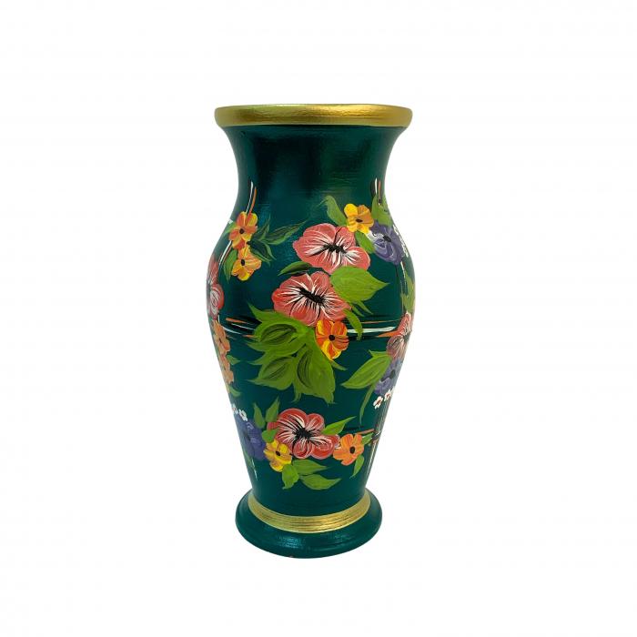 vaza-din-ceramica-de-arges-realizata-manual-argcoms-h30-silueta-clasica-1-2-inele-pictura-florala-6461-6472 0