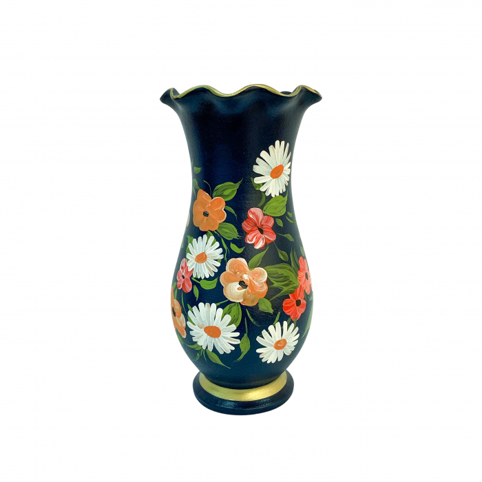 vaza-din-ceramica-de-arges-realizata-manual-argcoms-h30-silueta-cu-onduleuri-2-1-inel-pictura-florala-6449-6460 0