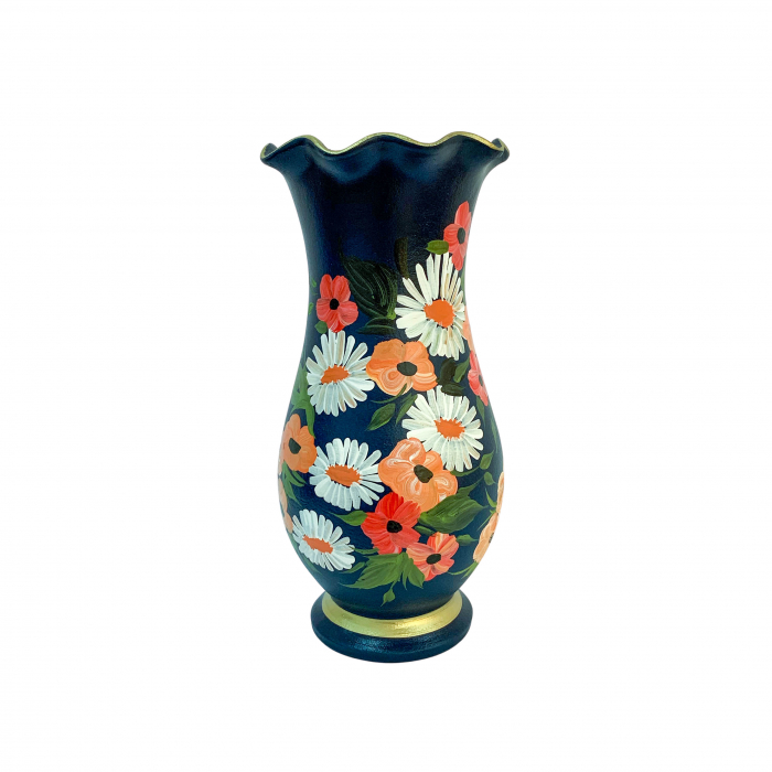 vaza-din-ceramica-de-arges-realizata-manual-argcoms-h30-silueta-cu-onduleuri-2-1-inel-pictura-florala-6449-6460 2
