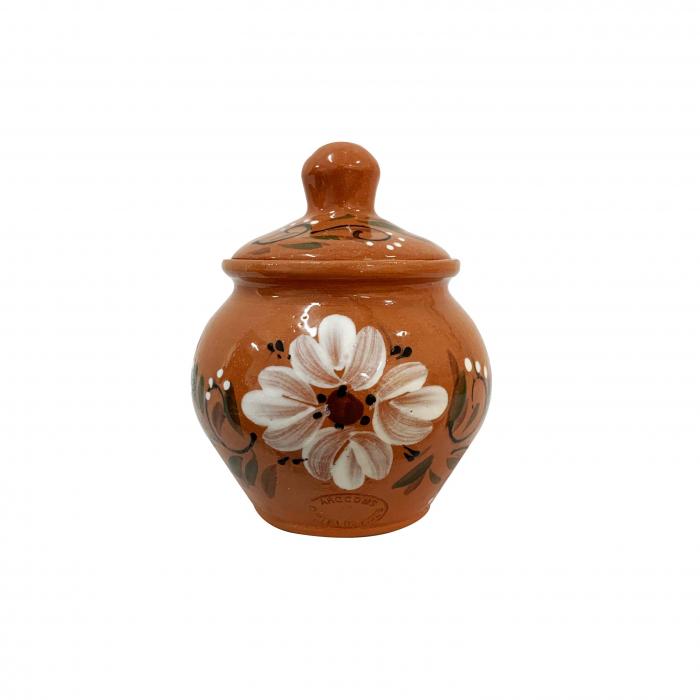 zaharnita-din-ceramica-de-arges-realizata-manual-argcoms-cu-capac-pictura-florala-5948-5949 0