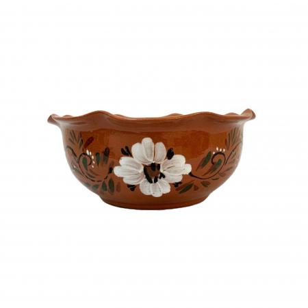 Bol din ceramica de Arges realizat manual, Argcoms, Pictura florala, Mare