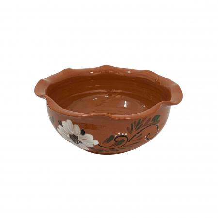Bol din ceramica de Arges realizat manual, Argcoms, Pictura florala, Mare2