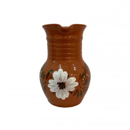 Cana din ceramica de Arges realizata manual, Argcoms, Apa/Vin, Cu cioc, Pictura florala3