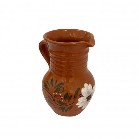 Cana din ceramica de Arges realizata manual, Argcoms, Apa/Vin, Cu cioc, Pictura florala2