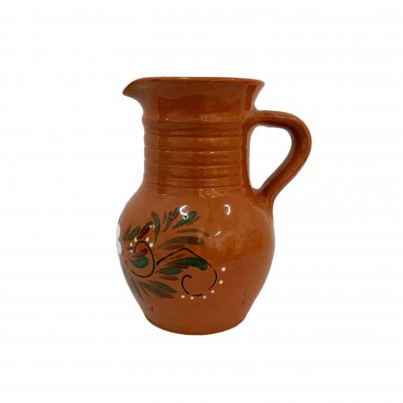 Cana din ceramica de Arges realizata manual, Argcoms, Apa/Vin, Cu cioc, Pictura florala0