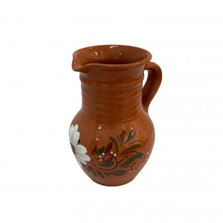 Cana din ceramica de Arges realizata manual, Argcoms, Apa/Vin, Cu cioc, Pictura florala1