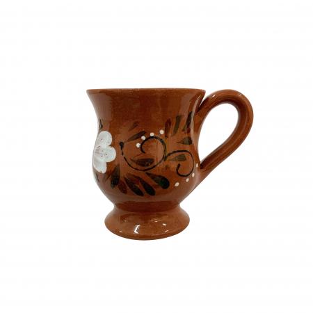 Cana din ceramica de Arges realizata manual, Argcoms, Ceai, Pictura florala0