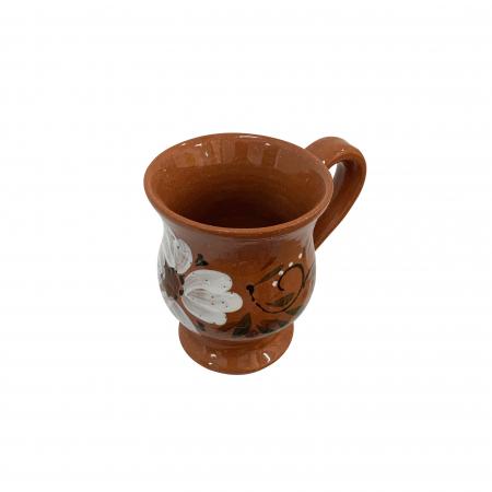 Cana din ceramica de Arges realizata manual, Argcoms, Ceai, Pictura florala1