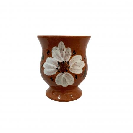 Cana din ceramica de Arges realizata manual, Argcoms, Ceai, Pictura florala2