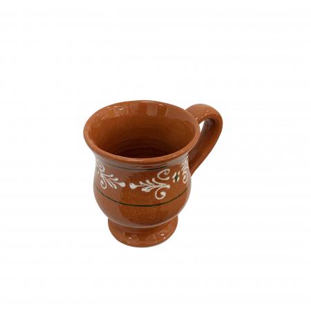 Cana din ceramica de Arges realizata manual, Argcoms, Ceai, Pictura traditionala2