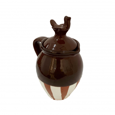 Cana din ceramica de Arges realizata manual, Argcoms, Vin, Capac cu acvila, Pictura traditionala, Fond maro2
