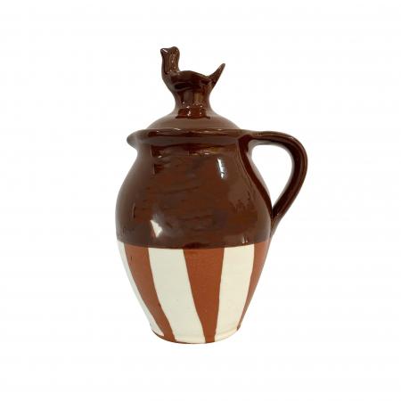 Cana din ceramica de Arges realizata manual, Argcoms, Vin, Capac cu acvila, Pictura traditionala, Fond maro