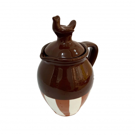 Cana din ceramica de Arges realizata manual, Argcoms, Vin, Capac cu acvila, Pictura traditionala, Fond maro1