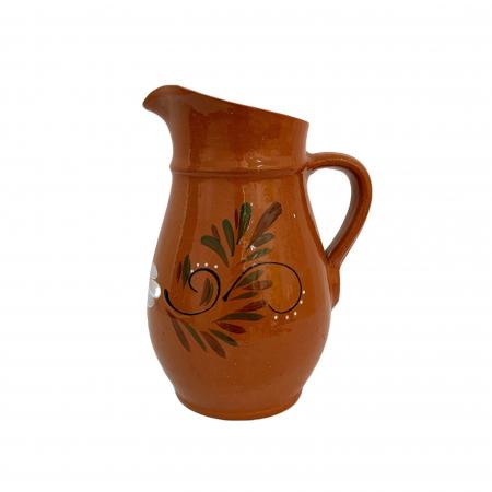 Carafa din ceramica de Arges realizata manual, Argcoms, Vin/Apa, Pictura florala