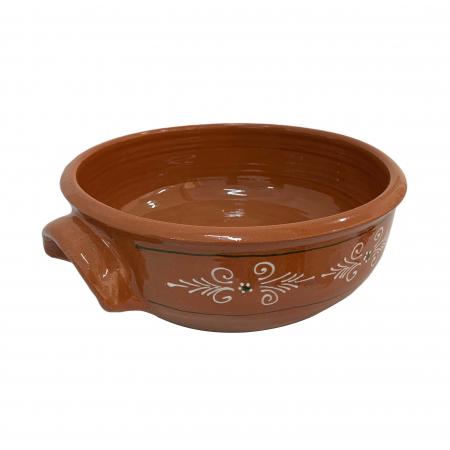 Castron din ceramica de Arges realizat manual, Argcoms, Cu 2 toarte, Pictura traditionala2