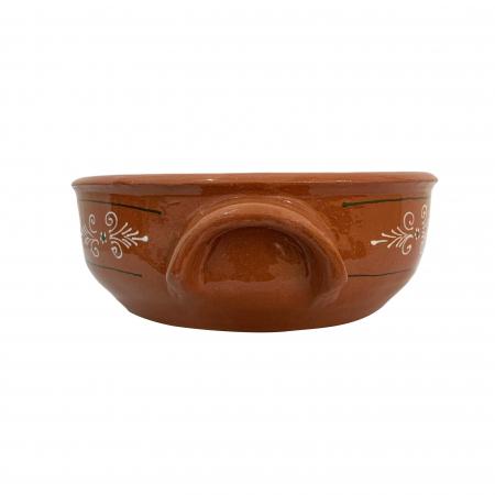 Castron din ceramica de Arges realizat manual, Argcoms, Cu 2 toarte, Pictura traditionala1