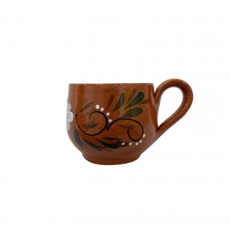 Ceasca din ceramica de Arges realizata manual, Argcoms, Cafea, Pictura florala