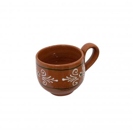 Ceasca din ceramica de Arges realizata manual, Argcoms, Cafea, Pictura traditionala1