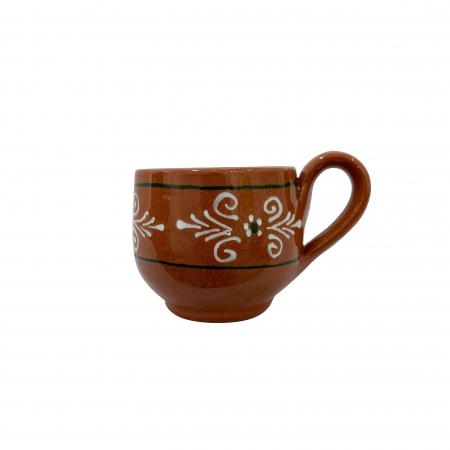 Ceasca din ceramica de Arges realizata manual, Argcoms, Cafea, Pictura traditionala