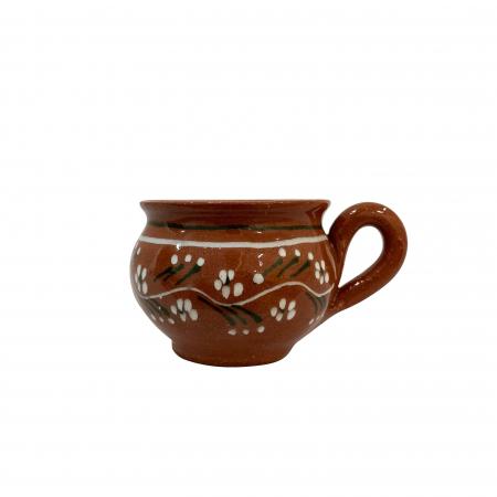 Ceasca din ceramica de Arges realizata manual, Argcoms, Tuica, Forma evazata